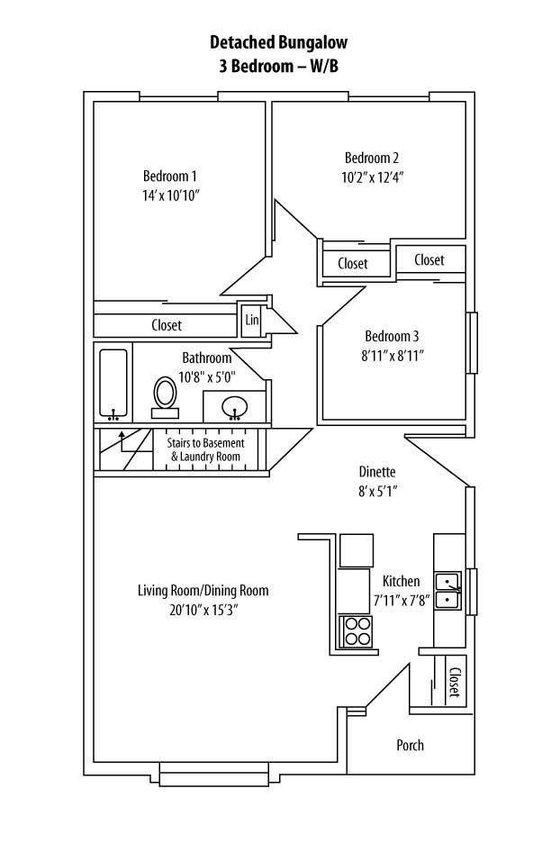 Three bedroom with basement for 3 bedroom floor plans with basement